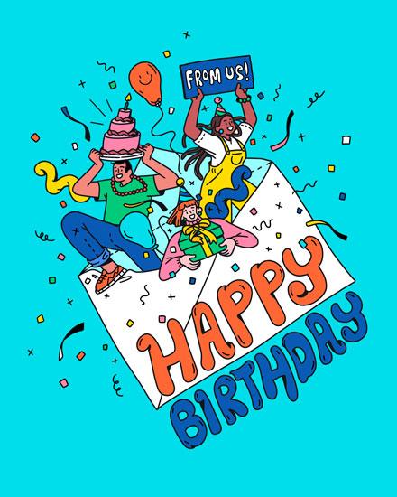 happy birthday card group card envelope