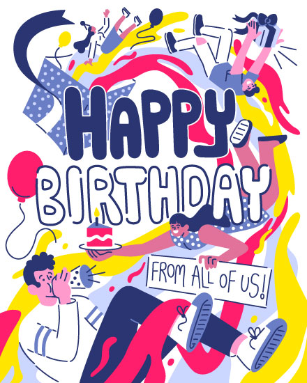 happy birthday card group swirling out of gift box