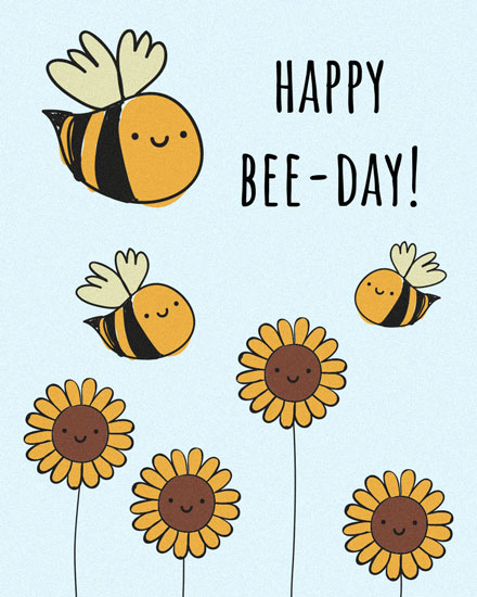 happy birthday card bee day bees