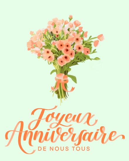 birthday card joyeux anniversaire flower bouquet