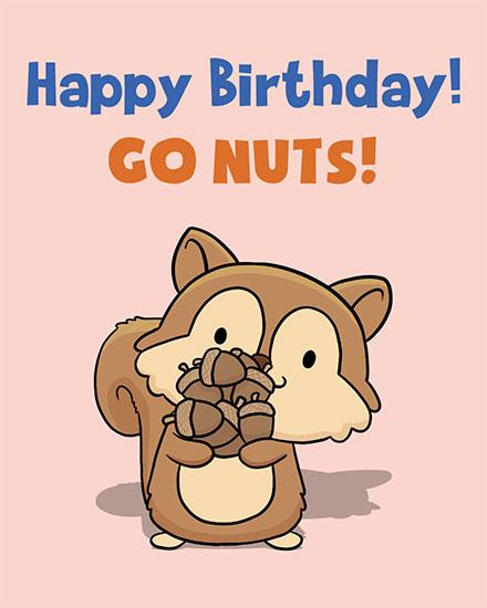 birthday card go nuts squirrel