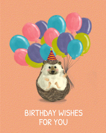 happy birthday card hedgehog holding balloons