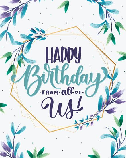 happy birthday card hexagon floral