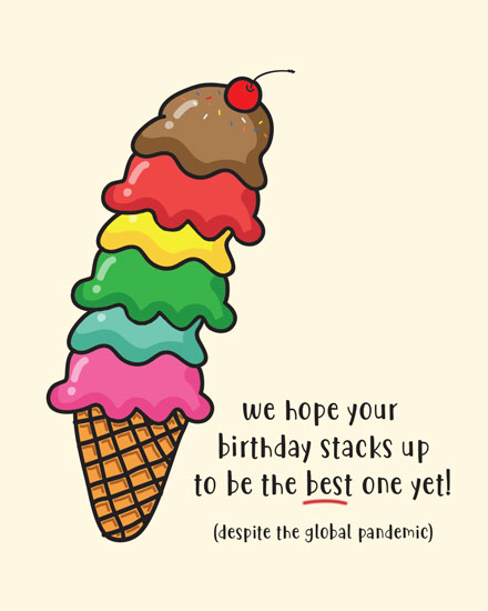 happy birthday card ice cream cone stack
