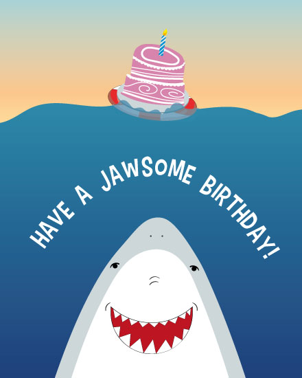 happy birthday card jawsome shark