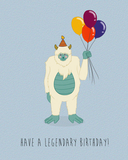 happy birthday card legendary yeti