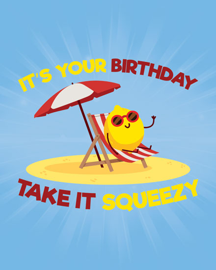 happy birthday card lemon take it squeezy