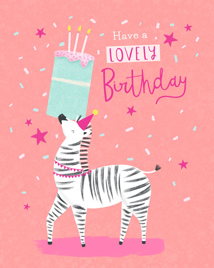 birthday card have a lovely day zebra