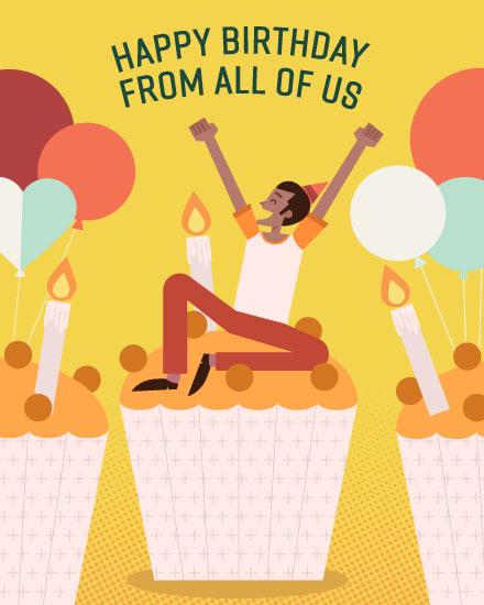 happy birthday card man on cupcake