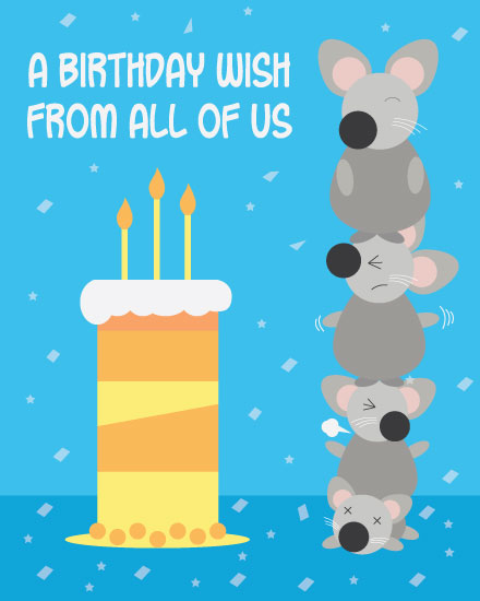 happy birthday card mice totem pole