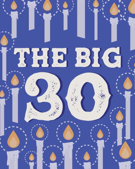 happy birthday card milestone candle 30