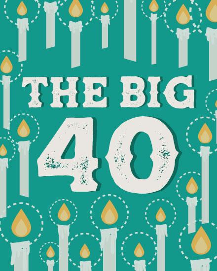 happy birthday card milestone candle 40