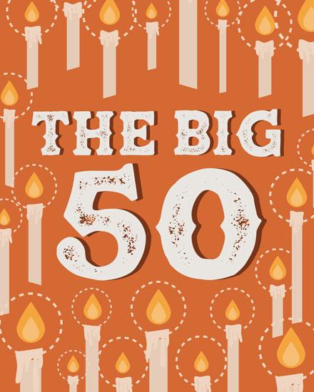 happy birthday card milestone candle 50