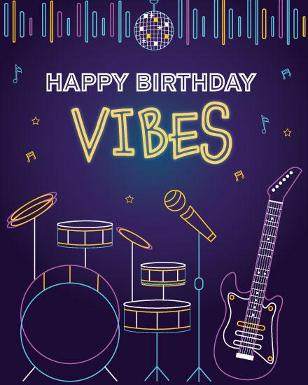happy birthday card neon birthday vibes rock instruments