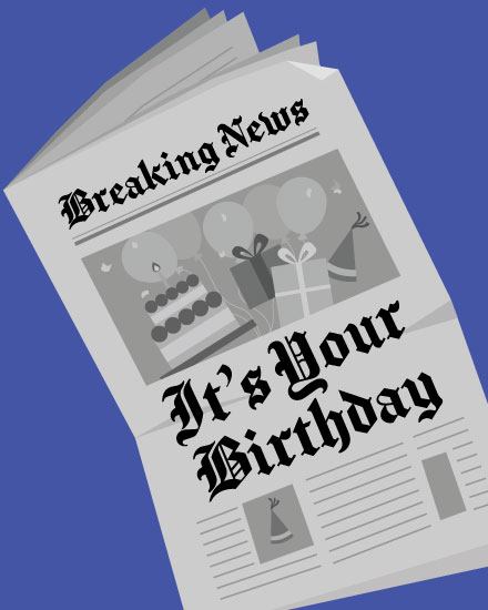 happy birthday card newspaper announcement