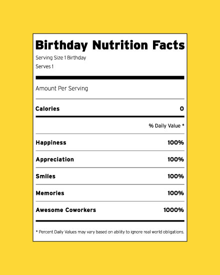 happy birthday card nutrition label