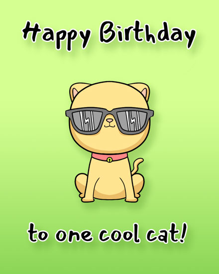 happy birthday card one cool cat