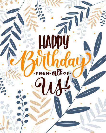 happy birthday card orange blue ferns