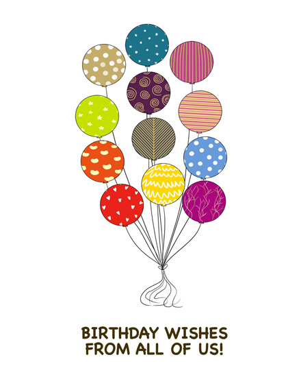 happy birthday card patterned balloons