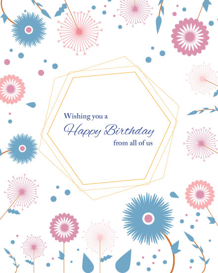 happy birthday card pink blue flowers