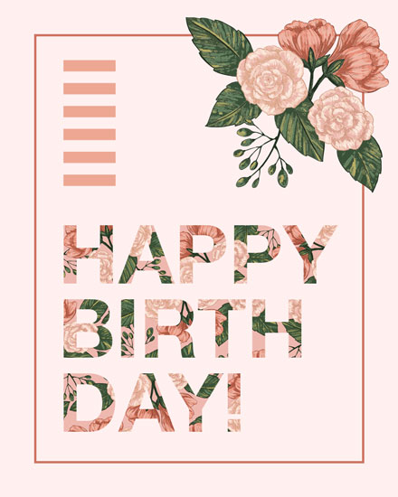 happy birthday card pink florals