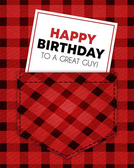 birthday card happy birthday to a great guy buffalo plaid shirt pocket
