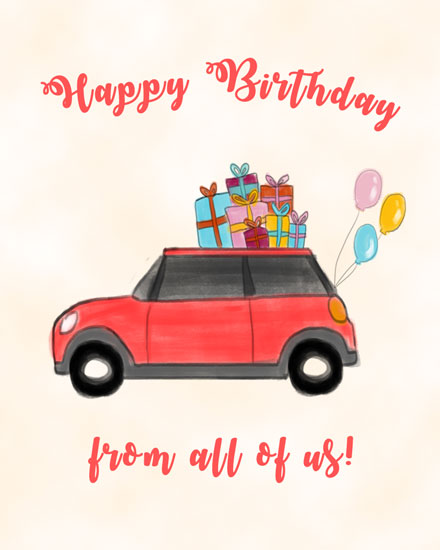 happy birthday card presents on red car