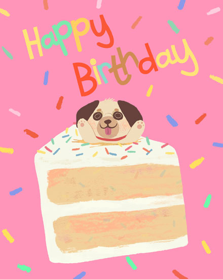 happy birthday card pug cake