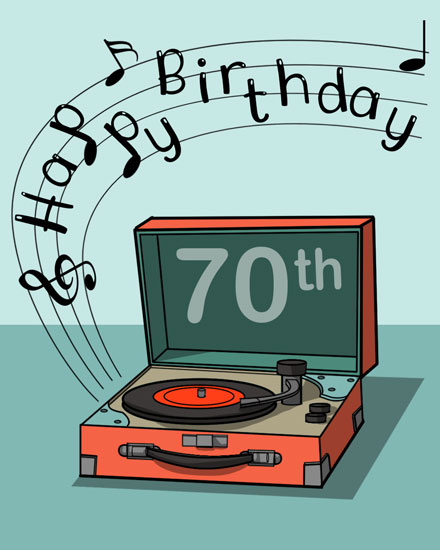 happy birthday card 70th record player