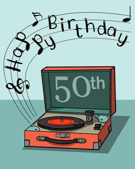 happy birthday card record player milestone 50