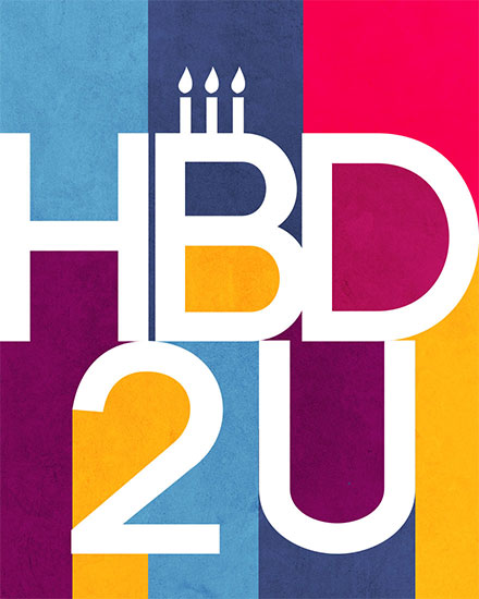 birthday card hbd 2u retro stripes