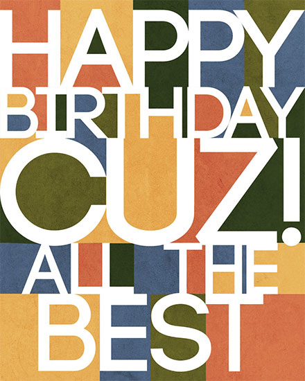 birthday card happy birthday cuz all the best