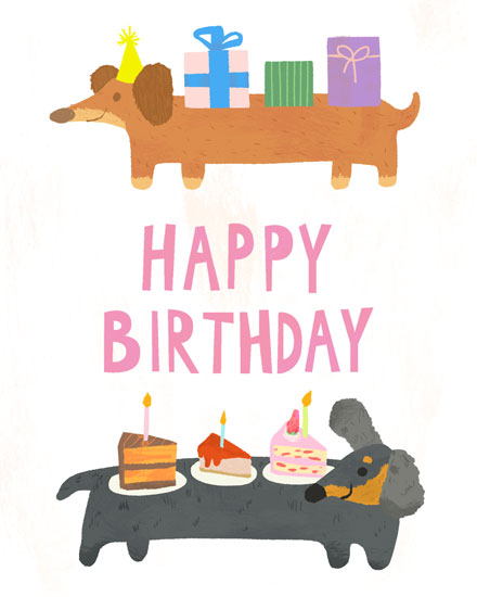 happy birthday card sausage dogs