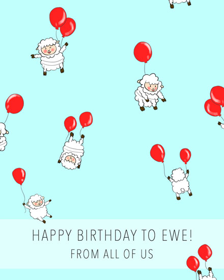 happy birthday card sheep with red balloons for ewe