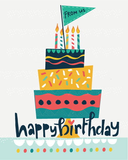 happy birthday card stacked cake