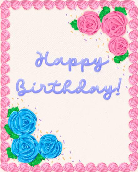 birthday card happy birthday sheet cake with flowers