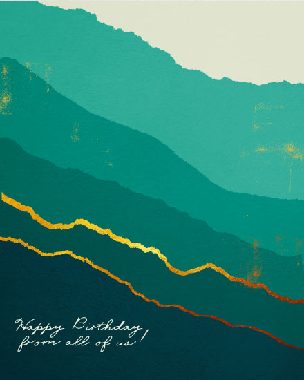 birthday card teal gold abstract happy birthday from all of us