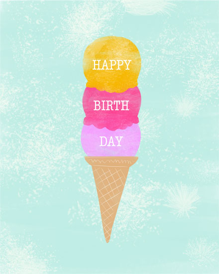 happy birthday card three ice cream scoops on cone