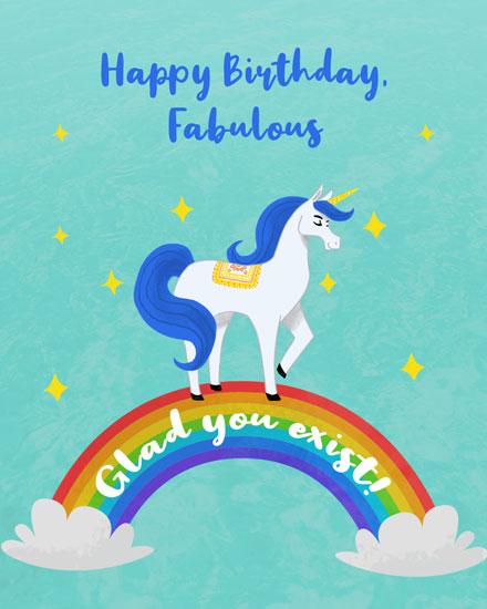 birthday card happy birthday fabulous unicorn