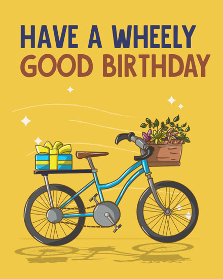 happy birthday card wheely good birthday bicycle