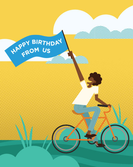 happy birthday card woman on bicycle with banner
