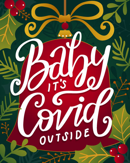 holiday card baby its covid outside