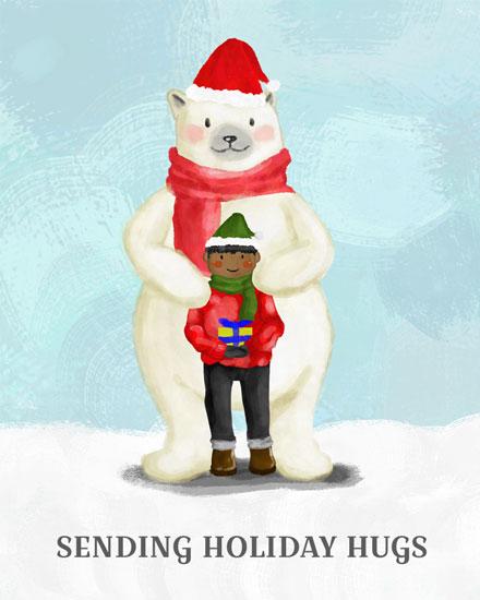 holiday card sending holiday hugs polar bear