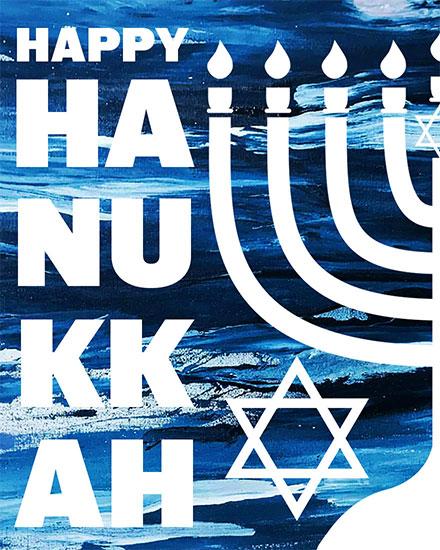 hanukkah card happy hanukkah blue menorrah