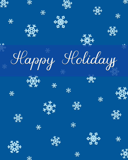 holiday card blue snowflakes