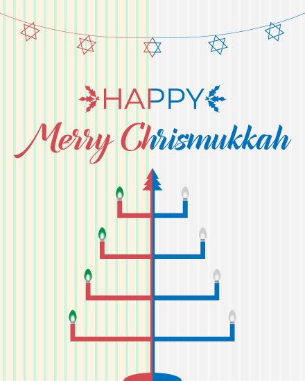 holiday card chrismukkah menorah