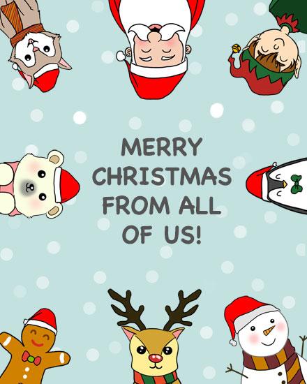 merry christmas card christmas characters