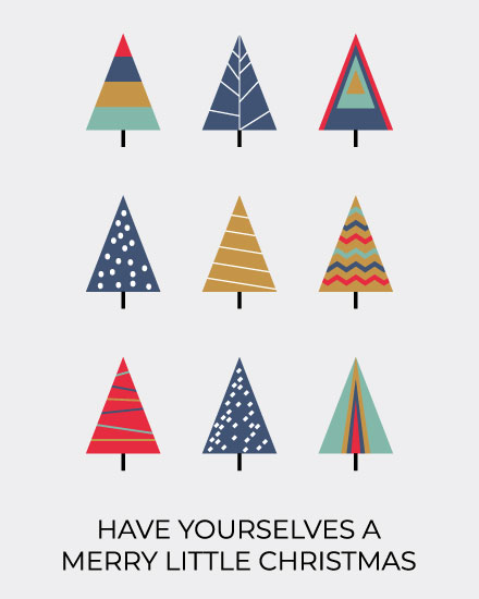 christmas card christmas tree triangles