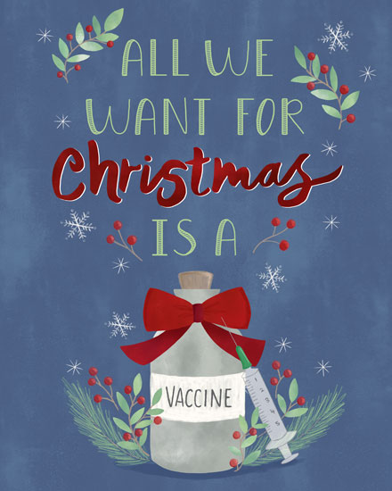 holiday card all we want for christmas is a vaccine