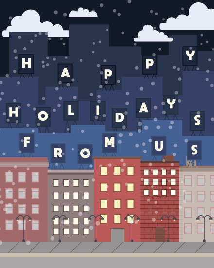 holiday card city building signs